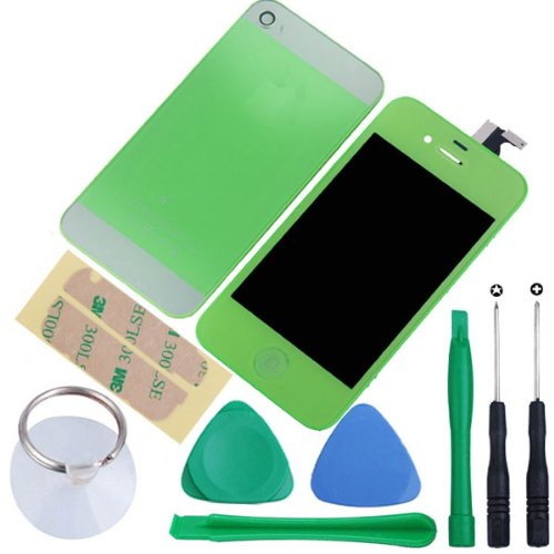 Amhdeal Lcd Touch Screen Digitizer Replacement Assembly + Iphone 5 Style Back Cover Compatible For Gsm Version Iphone 4 At&T/T-Mobile Iphone 4 - Green (Comes With Opening Tools)