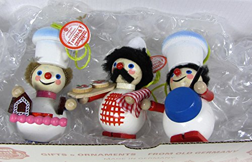 Steinbach Set of 3 Wooden ornaments – PIZZA CHEF, Gingerbread House BAKER & COOK
