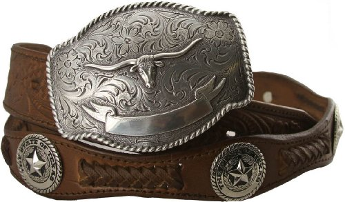State of Texas Star and Longhorn Western Embossed Leather Belt (40, Brown)