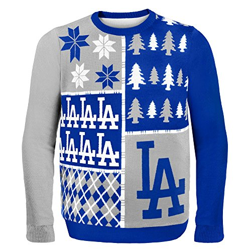 Mlb Los Angeles Dodgers Busy Block Ugly Sweater, Large, Blue