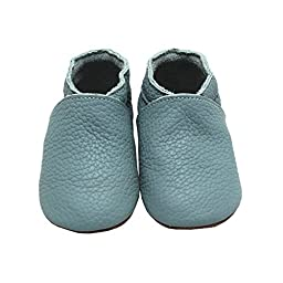 Mejale Baby Infant Toddler Shoes Anti-slip Soft Sole Leather Moccasin Pre-walker(blue,18-24 months)
