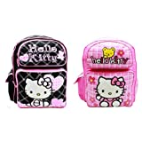 Super Cute Combo Pack 1 Dark And 1 Light Colors Hello Kitty Large Embroidered Applique Backpack Dimension: 16...