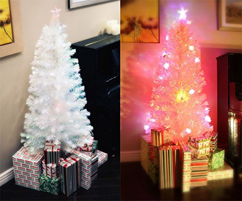7 Ft Pre-Lit Multi Color Led Fiber Optic Artificial White Christmas Tree
