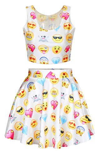 Funny Emjio Face Diamond Print White Crop Tank Tops Mini Skirts Set for Teenager (Teenagers Clothes compare prices)