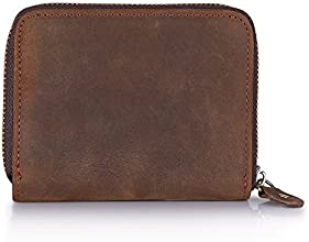 Kattee® Coffee Top crazy-horse leather Handmade Wallet Mens Purse Zippered Vintage Purse