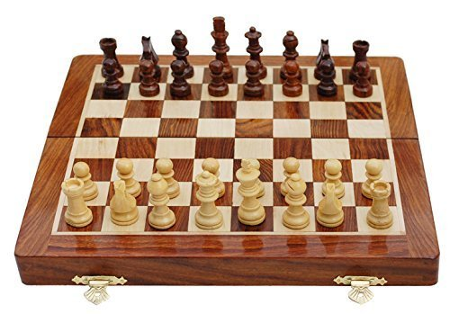 Chess Sets Sale - 12 Days of Christmas Deals - SouvNear Classic 10 X 10 Inch Ultimate Wood Staunton Magnetic Travel Chess Game with Folding Rosewood Storage Board in a Walnut Finish - Handmade Wooden Indoor Board Game - Best Family Holiday Gifts