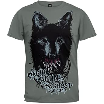 A girl a gun a ghost wolf teeth t shirt for Amazon review wolf shirt
