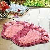 Super Soft Nonslip Microfiber Lovely Flocking Big Feet Pad Floor Mat Bedroom Area Rug Carpet 58.5*38.5cm, 5 Colors Available (Pink)