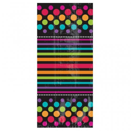 "Amscan Black Rainbow Polka Dotted & Striped Cellophane Goodie Bags, Black/Multicolored, 4"" x 9.5"""