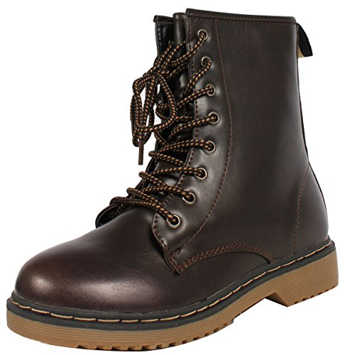Forever Women'S Alyson Smooth Faux Leather Lace Uppull Tab Ankle Combat Boots, Dark Brown, 6.5 M Us