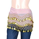 Fashion Gold Tone Coin Beaded Decor Pink Waist Chains for Belly Dancing Wear