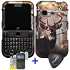 3 items Combo: ITUFFY (TM) LCD Screen Protector Film + Case Opener + Pine Tree Leaves Deer Camouflage Wildlife Outdoor Design Rubberized Snap on Hard Shell Cover Faceplate Skin Phone Case for Samsung S390G (Straight Talk / Net 10 / Tracfone)