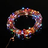 TaoTronics Multi-color Led String Lights Copper Wire 33ft LED Starry Light Copper Wire For Christmas Trees, Wedding, Gardens, Lawn,Patio,parties(7 rainbow colors, 100leds)