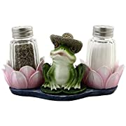 Baby Frog on a Lily Pad Glass Salt and Pepper Shaker Set