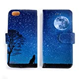 iPhone6/6s ケース 手帳型 満月とオオカミ 星空/宇宙コレクション おしゃれ シンプル かっこいい アイフォン カバー スマホケース アイホン 001 (iPhone6/6s)