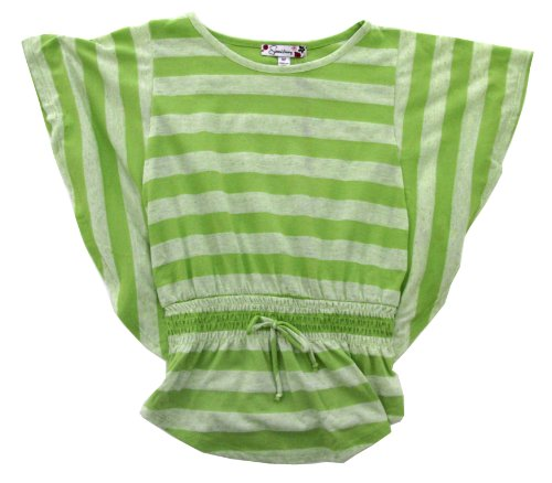 Speechless Big Girls' Striped Poncho Top With Necklace (7, Lime)