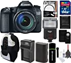 Canon EOS 70D Digital SLR Camera with 18-135mm STM f/3.5-5.6 Lens + 64 GB Card and Reader + Backpack + Flash + Spare Battery and Charger + Digital Camera Accessory Kit