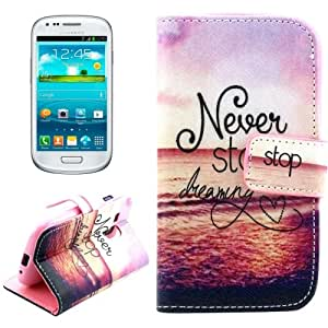 Crazy4Gadget Letters Hanging on the Sea Pattern Cross Texture Leather Case with Holder & Card Slots & Wallet for Samsung Galaxy SIII mini / i8190