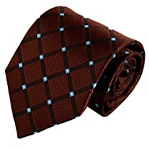 Brown Tie For Men Maroon Checkered Woven Silk Tie Set excellent Tie Set FAA1145