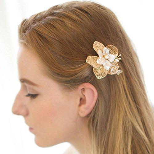 Perle En Or Pince à Cheveux , Feuilles De Fleur Pour