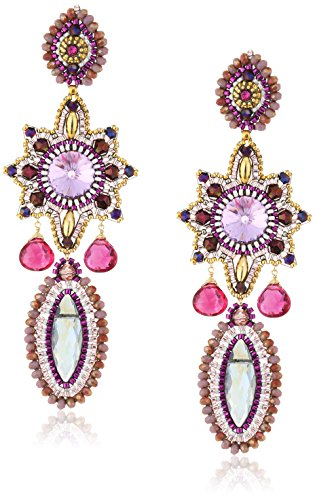 Miguel Ases Large Rainbow Hydro-Quartz and Tourmaline Quartz Marquise Celestial Star Drop Earrings