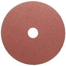 "Weiler Tiger Resin Fiber Disc, Fiber Backing, Aluminum Oxide, 7/8"" Arbor, 4-1/2"" Diameter, 36 Grit,"