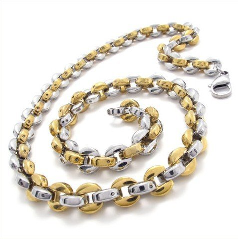 CET Domain SZ11-1141 Gold Titanium Steel Chain Necklace for Mens Attire
