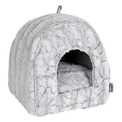 RSPCA Luxury Plush Igloo Cat Bed, Silver