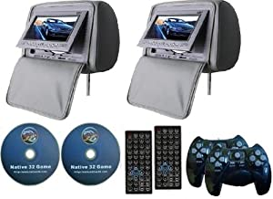 "GRAY Color Zipper Pair of Headrest 7"" LCD Car Monitors with Region Free DVD player USB SD Inc. Wireless Game Controllers and 32 Bit Games"