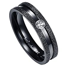 buy Men'S Wedding Rings Stainless Steel His Bands 2 Honed Edges Inlaid Cz Black Width 6Mm Size 8