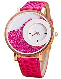 RTimes Leather Strap Analogue Womens Round Dial Watch With Moving Beads (Pink)