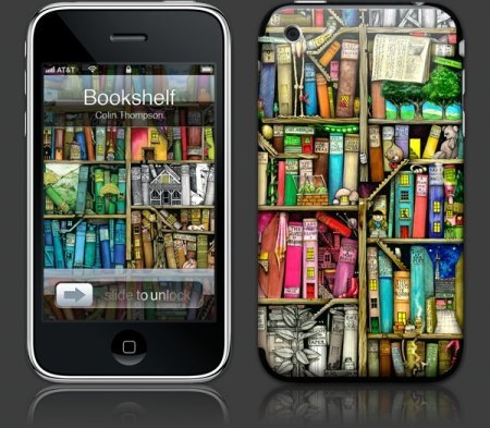 Apple iPhone 3G Premium Vinyl Skin - Bookshelf (GelaSkins Brand) Made in Canada