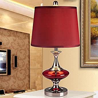 Modern contemporary table lamp bedside lamp in red shade for Bedside table lamp shades