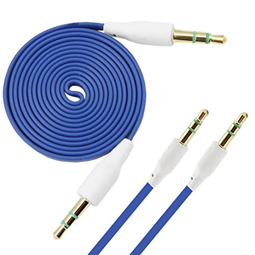 Italkonline Blu Studio 6.0 Hd Blue Flat 3.5Mm Gold Plated Jack To Jack Male Aux Auxiliary Stereo Jack Cable Lead Wire