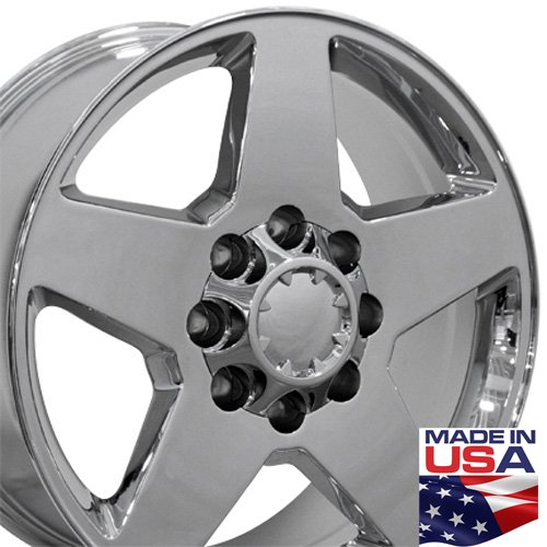 20x8.5 Wheel Fits Chevy Truck - Silverado Style PVD Chrome Rim (Chevy Silverado Rims 20 compare prices)