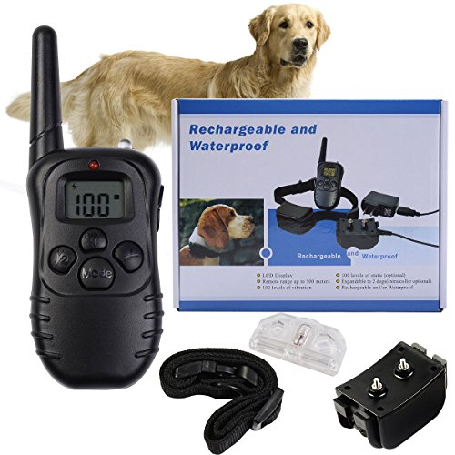 Safstar LCD Display Pet Dog Discipline Training Collar Vibrate 100 Level Shock Remote Waterproof Rechargeable
