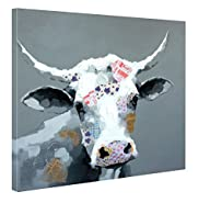 Besaw Art Abstract Cute Cow Handmade Original Animal Oil Paintings Wall Art Canvas Framed Home Decor…