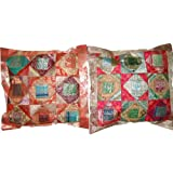 2 Red Rust Vintage Silk Sari Toss Pillow Cushion Coversby Mogulinterior