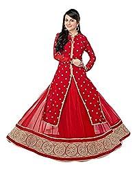 N N Enterprise Women's Satin Semi Stitched Suit (kfh riya sen 9056_Red_Free Size)