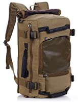 Vintage Military Hiking Canvas Rucksack Backpack Lightweight Bag - Brown