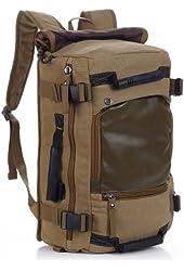 Vintage Military Hiking Canvas Rucksack Backpack Lightweight Bag - Brown