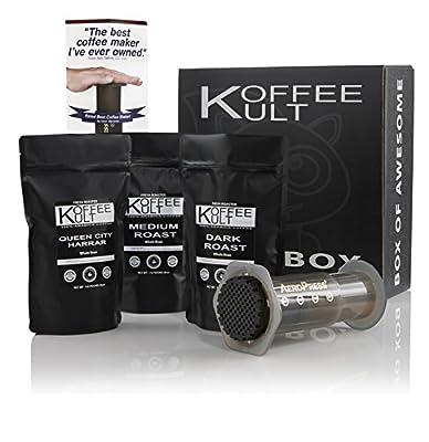 Koffee Kult Coffee Gift Basket - Variity of 3 Whole Bean Coffee - Dark Roast - Medium Roast - Harrar Coffees with Grinder and Areopress