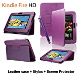 "Mixland Premium Leather Case Cover Stand for New Amazon Kindle Fire HD 7"" Standing Leather Cover(will only fit kindle fire hd 7""),Purple"