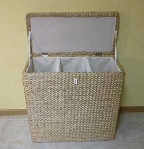 Wäschesortierer 3 Einteilungen Binse Textil