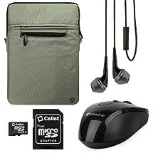 Vangoddy Hydei Carrying Bag Case (Gray Trim) for Dell XPS 13 Ultrabook / Dell Latitude 13.3 inch Laptops + Black Vangoddy Headphones + 16GB Memory Card