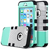 iPhone 5S case,ULAK iPhone 5 Case Hybrid 3 Layer Silicone Shell Hard Case Cover for iPHone 5s 5(Mint/Bar)