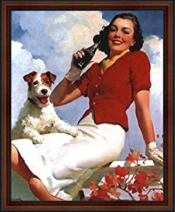 "Lady and her Dog. Coca-Cola Vintage Advertising Poster Reproduction. Framed (18 1/4"" x 22 1/4"", Custom Made Real Wood Frame Dark walnut with black trim #4)"