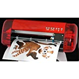 Professional A4 Mini Vinyl Cutter Plotter Sign Stickers Desktop Cutting Machine with Contour Cut Function Small Size (Color: Red, Tamaño: A4)