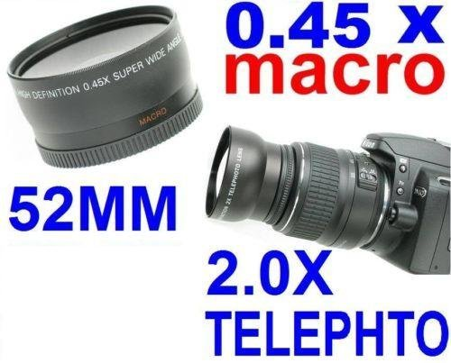 52Mm Wide Angle + Macro Lens Filter & Telephoto Lens Filter For Canon, Nikon & Kodak