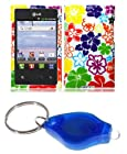 Tropical Hawaiian Flowers Design Shield Case + Atom LED Keychain Light for LG Optimus Logic L35G / LG Optimus Dynamic L38C